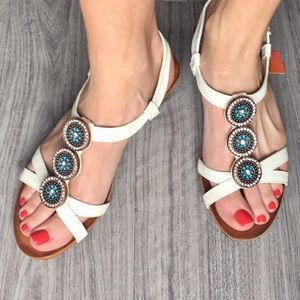 White wedges with rhinestone details